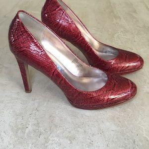 WHBM Diane Snakeskin Heels - Size 9